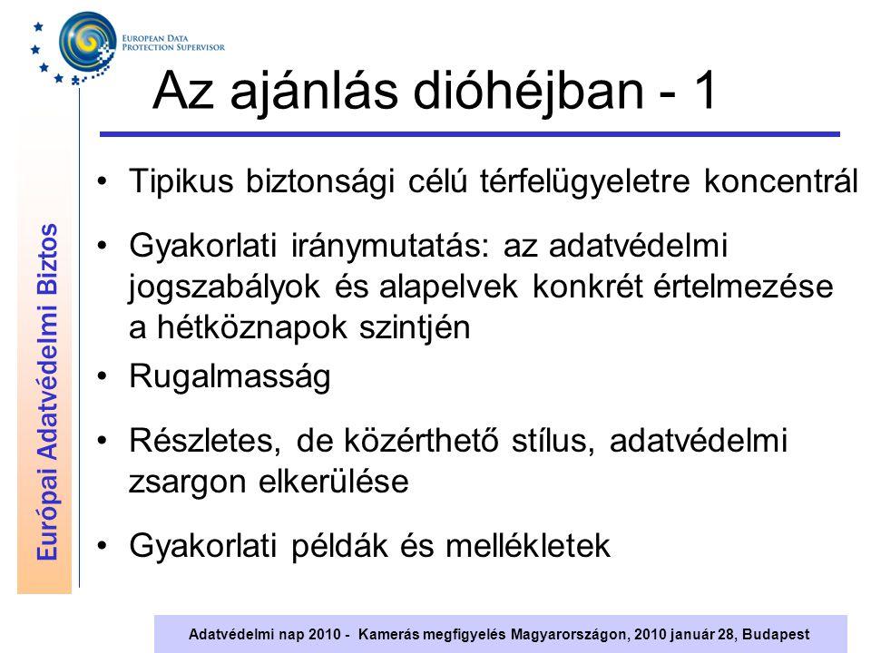 Európai Adatvédelmi Biztos Adatvédelmi nap 2010 - Kamerás megfigyelés Magyarországon, 2010 január 28, Budapest Az ajánlás dióhéjban - 1 Tipikus biztonsági célú térfelügyeletre koncentrál Gyakorlati iránymutatás: az adatvédelmi jogszabályok és alapelvek konkrét értelmezése a hétköznapok szintjén Rugalmasság Részletes, de közérthető stílus, adatvédelmi zsargon elkerülése Gyakorlati példák és mellékletek