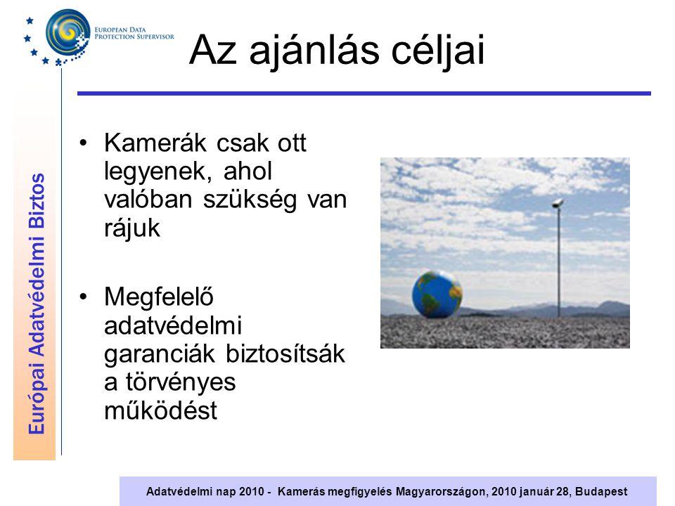 Európai Adatvédelmi Biztos Adatvédelmi nap 2010 - Kamerás megfigyelés Magyarországon, 2010 január 28, Budapest Az ajánlás céljai Kamerák csak ott legy