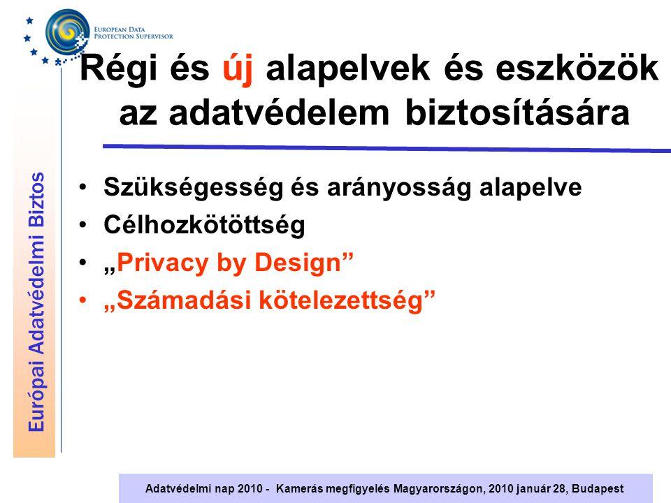 """Európai Adatvédelmi Biztos Adatvédelmi nap 2010 - Kamerás megfigyelés Magyarországon, 2010 január 28, Budapest Régi és új alapelvek és eszközök az adatvédelem biztosítására Szükségesség és arányosság alapelve Célhozkötöttség """"Privacy by Design """"Számadási kötelezettség"""