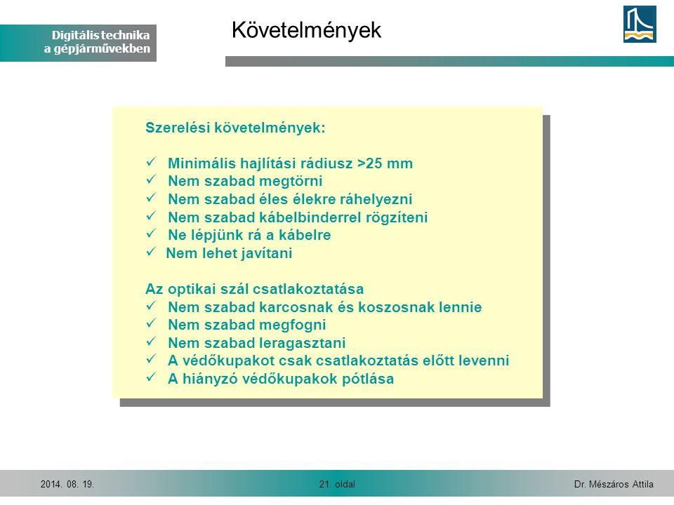 Digitális technika a gépjárművekben Dr. Mészáros Attila21. oldal2014. 08. 19. Követelmények Szerelési követelmények:  Minimális hajlítási rádiusz >25