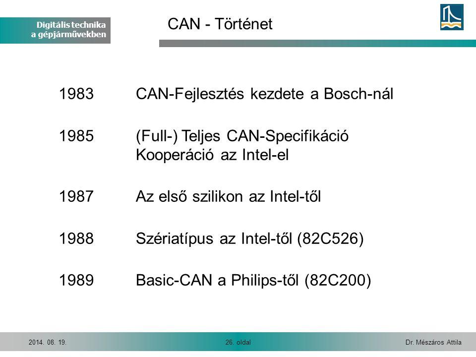 Digitális technika a gépjárművekben Dr. Mészáros Attila26. oldal2014. 08. 19. 1983CAN-Fejlesztés kezdete a Bosch-nál 1985(Full-) Teljes CAN-Specifikác