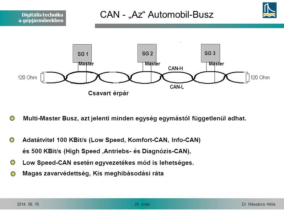 Digitális technika a gépjárművekben Dr. Mészáros Attila28. oldal2014. 08. 19. Multi-Master Busz, azt jelenti minden egység egymástól függetlenül adhat