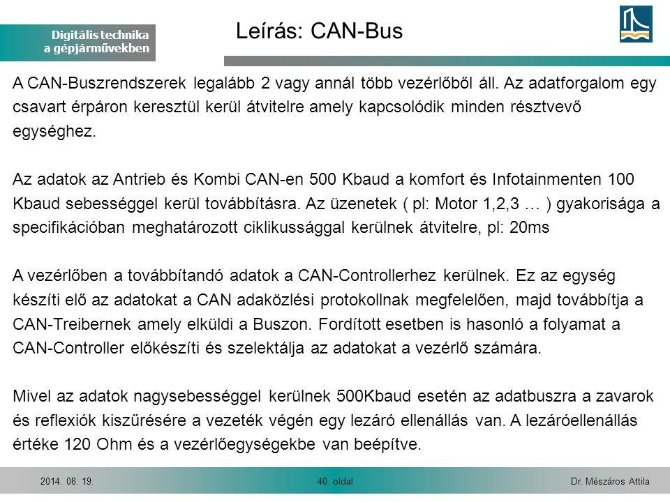 Digitális technika a gépjárművekben Dr. Mészáros Attila40. oldal2014. 08. 19. A CAN-Buszrendszerek legalább 2 vagy annál több vezérlőből áll. Az adatf