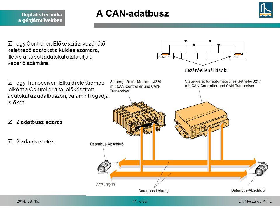 Digitális technika a gépjárművekben Dr. Mészáros Attila41. oldal2014. 08. 19. A CAN-adatbusz Motor SGABS Lezáróellenállások þ egy Controller: Előkészí