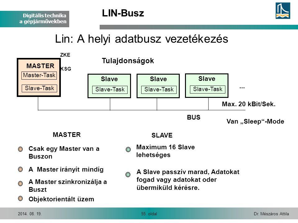 Digitális technika a gépjárművekben Dr. Mészáros Attila55. oldal2014. 08. 19. Lin: A helyi adatbusz vezetékezés MASTER SLAVE A Master irányít mindíg C
