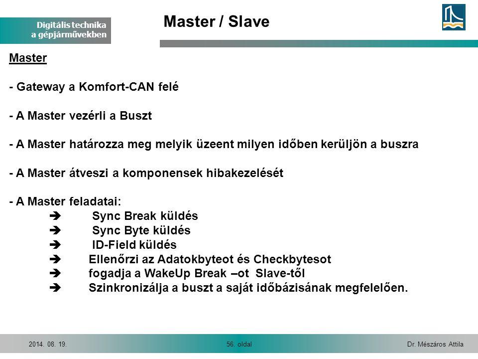 Digitális technika a gépjárművekben Dr. Mészáros Attila56. oldal2014. 08. 19. Master / Slave Master - Gateway a Komfort-CAN felé - A Master vezérli a