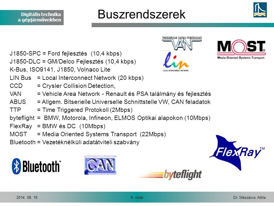 Digitális technika a gépjárművekben Dr. Mészáros Attila8. oldal2014. 08. 19. J1850-SPC = Ford fejlesztés (10,4 kbps) J1850-DLC = GM/Delco Fejlesztés (