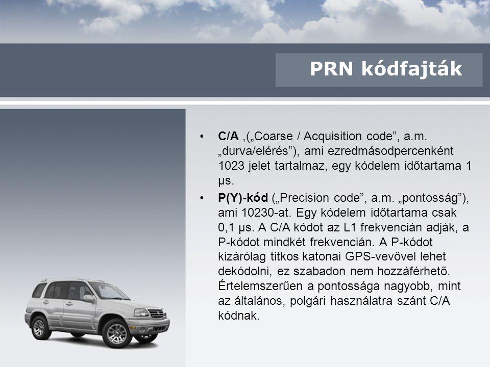 """PRN kódfajták C/A,(""""Coarse / Acquisition code"""", a.m. """"durva/elérés""""), ami ezredmásodpercenként 1023 jelet tartalmaz, egy kódelem időtartama 1 μs. P(Y)"""