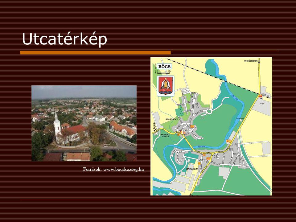 Utcatérkép Források: www.bocskozseg.hu