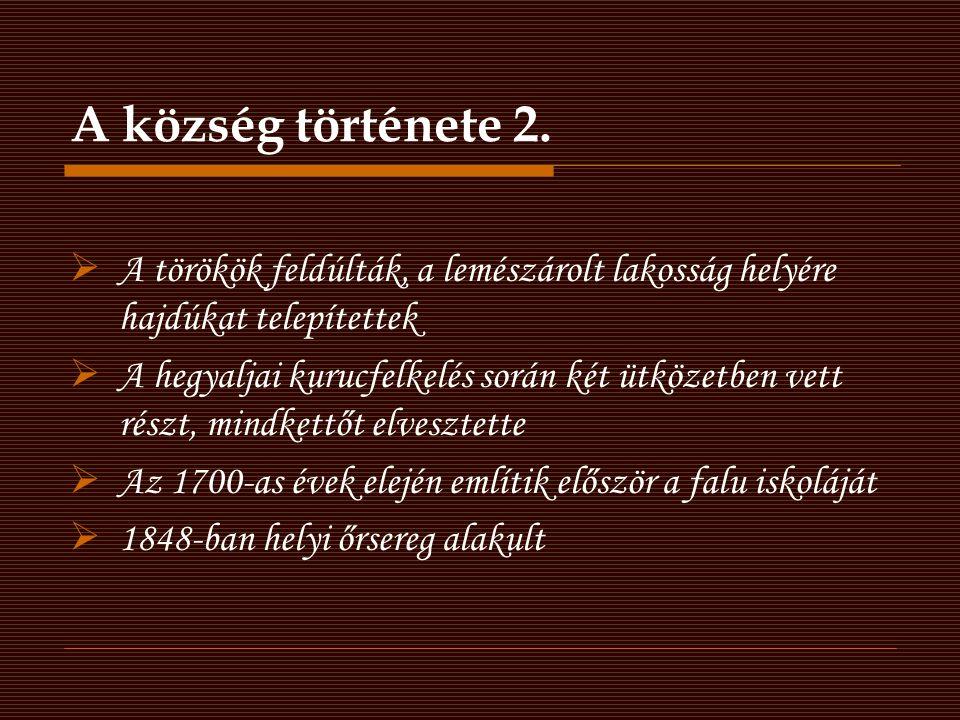 A község története 2.  A törökök feldúlták, a lemészárolt lakosság helyére hajdúkat telepítettek  A hegyaljai kurucfelkelés során két ütközetben vet