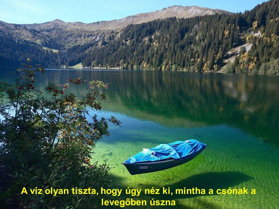 A víz olyan tiszta, hogy úgy néz ki, mintha a csónak a levegőben úszna