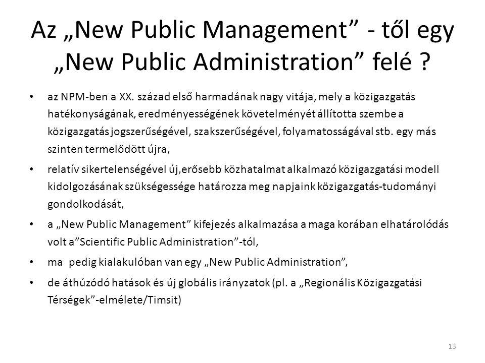 """Az """"New Public Management"""" - től egy """"New Public Administration"""" felé ? az NPM-ben a XX. század első harmadának nagy vitája, mely a közigazgatás haték"""