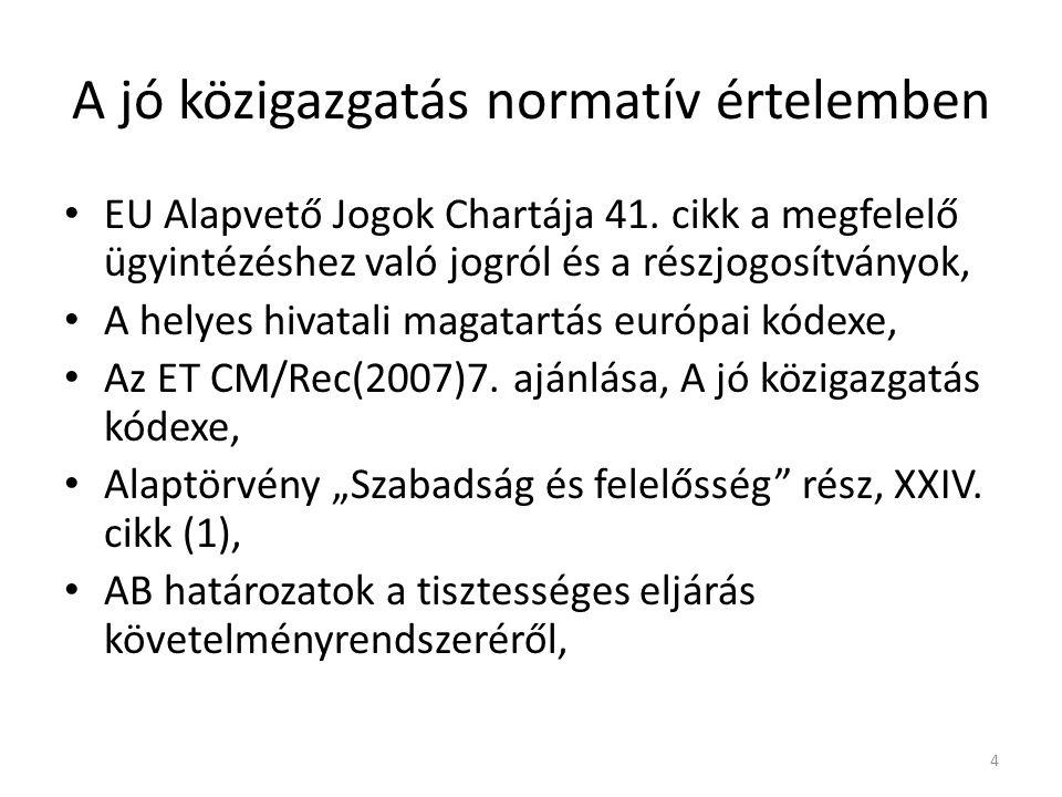 A jó közigazgatás normatív értelemben EU Alapvető Jogok Chartája 41.