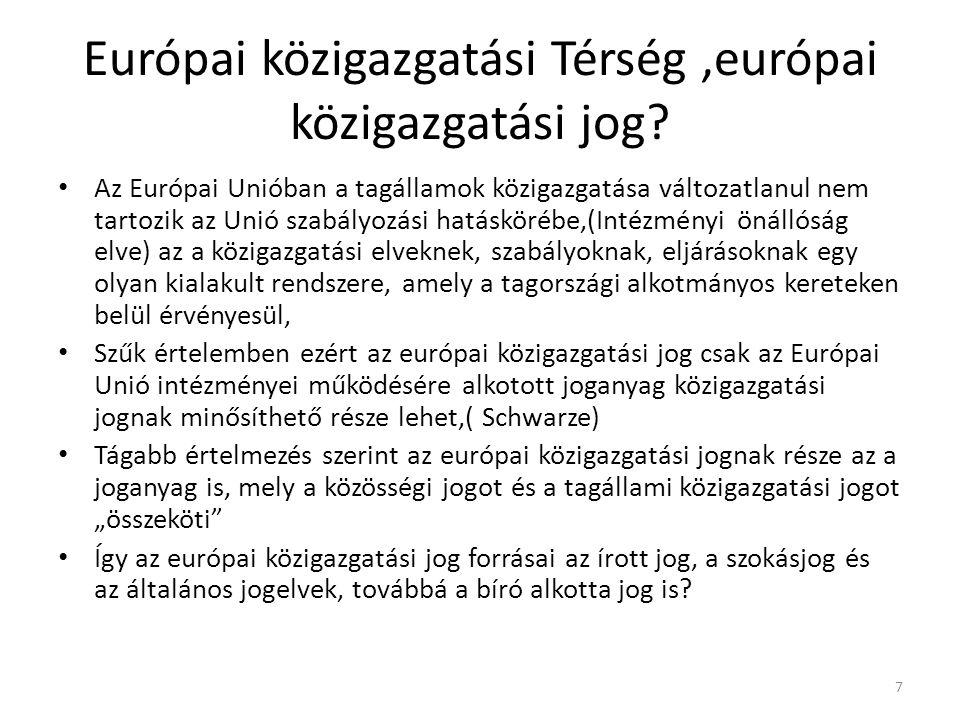 Európai közigazgatási Térség,európai közigazgatási jog.