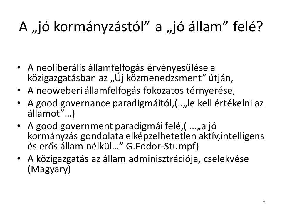 """A """"jó kormányzástól a """"jó állam felé."""