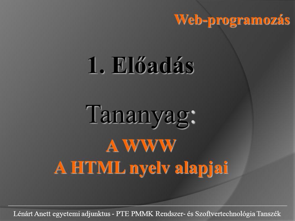 Web-programozás Lénárt Anett egyetemi adjunktus - PTE PMMK Rendszer- és Szoftvertechnológia Tanszék 1.