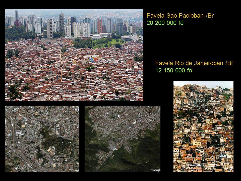 Favela Sao Paoloban /Br 20 200 000 fő Favela Rio de Janeiroban /Br 12 150 000 fő