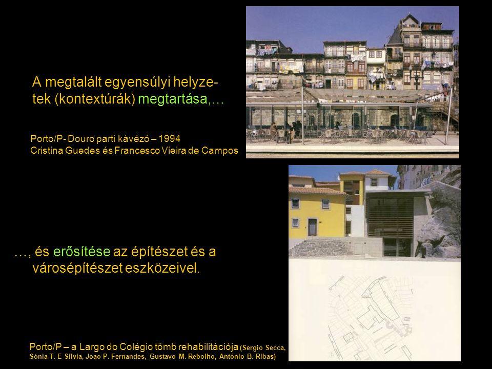 A megtalált egyensúlyi helyze- tek (kontextúrák) megtartása,… …, és erősítése az építészet és a városépítészet eszközeivel. Porto/P- Douro parti kávéz