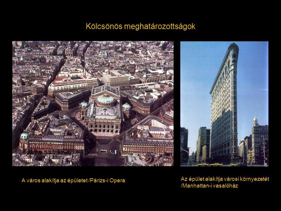 Kölcsönös meghatározottságok A város alakítja az épületet /Párizs-i Opera Az épület alakítja városi környezetét /Manhattan-i vasalóház