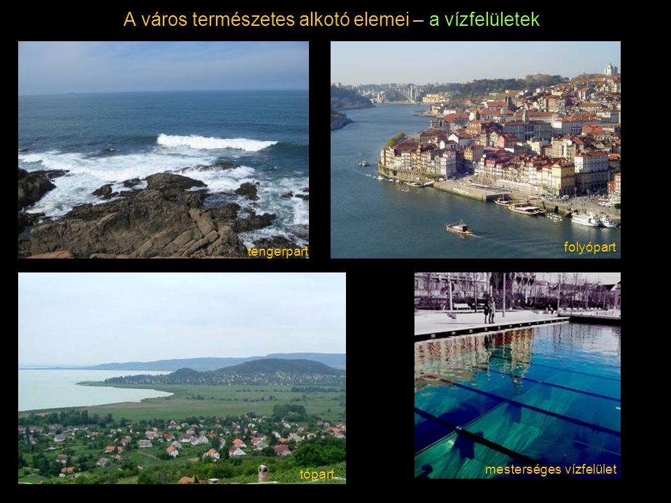 A város természetes alkotó elemei – a vízfelületek mesterséges vízfelület tópart tengerpart folyópart