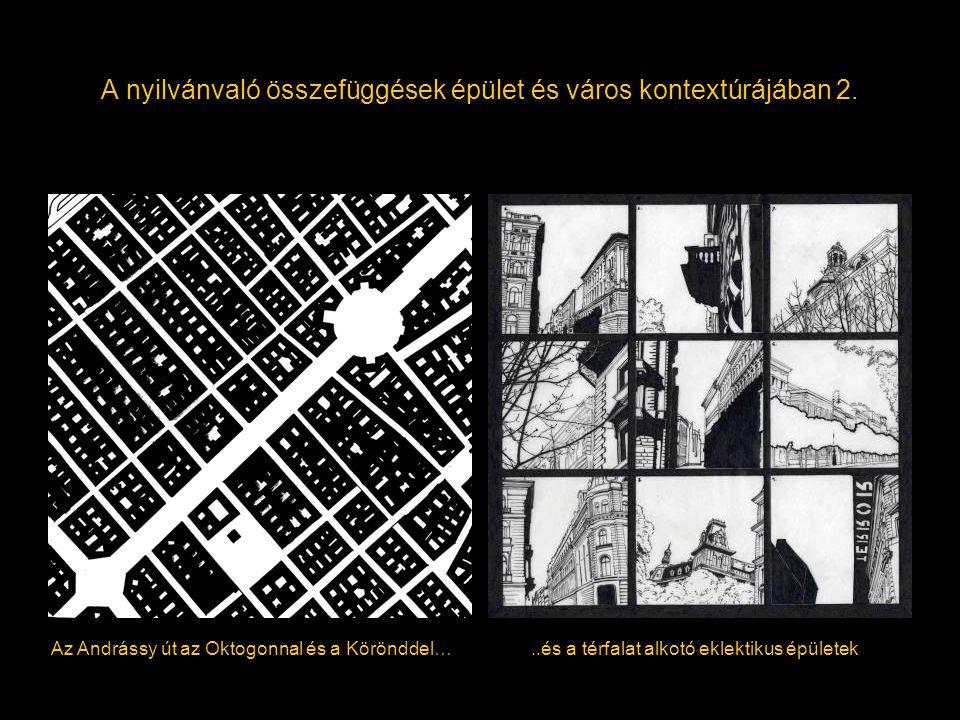 A nyilvánvaló összefüggések épület és város kontextúrájában 2. Az Andrássy út az Oktogonnal és a Körönddel…..és a térfalat alkotó eklektikus épületek
