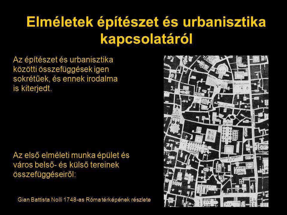 Elméletek építészet és urbanisztika kapcsolatáról Az építészet és urbanisztika közötti összefüggések igen sokrétűek, és ennek irodalma is kiterjedt. A