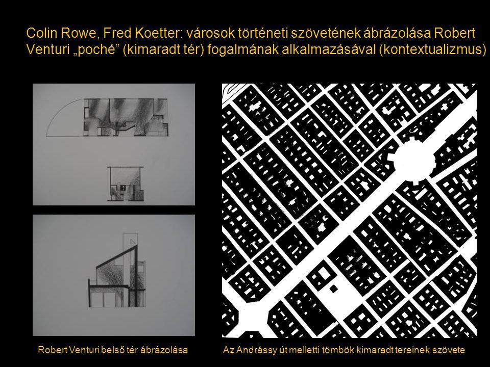"""Colin Rowe, Fred Koetter: városok történeti szövetének ábrázolása Robert Venturi """"poché"""" (kimaradt tér) fogalmának alkalmazásával (kontextualizmus) Ro"""