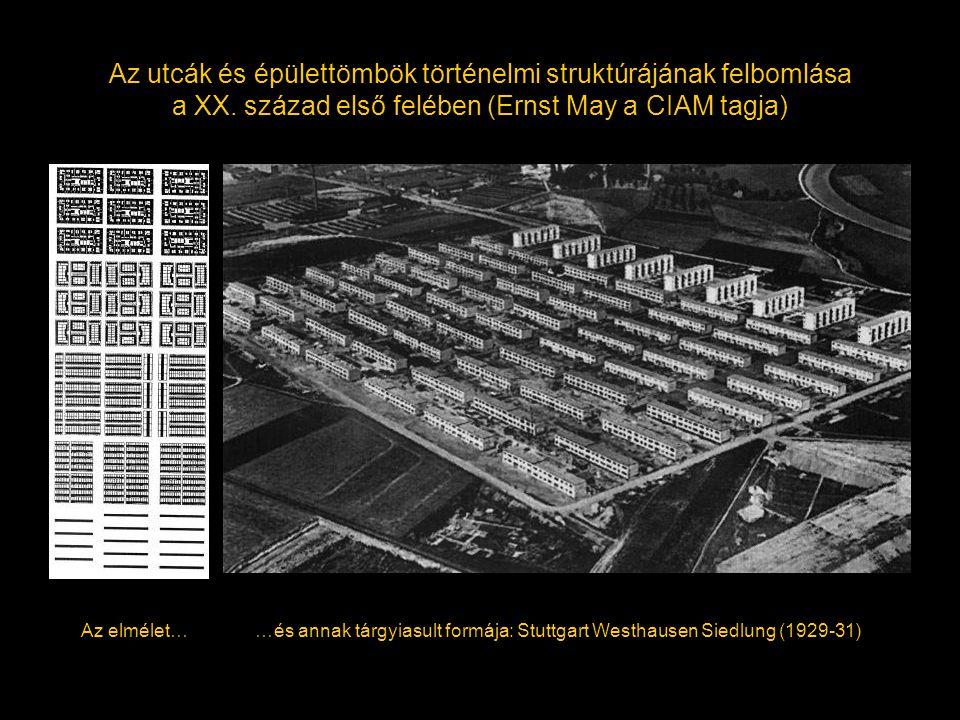 Az utcák és épülettömbök történelmi struktúrájának felbomlása a XX. század első felében (Ernst May a CIAM tagja) Az elmélet……és annak tárgyiasult form
