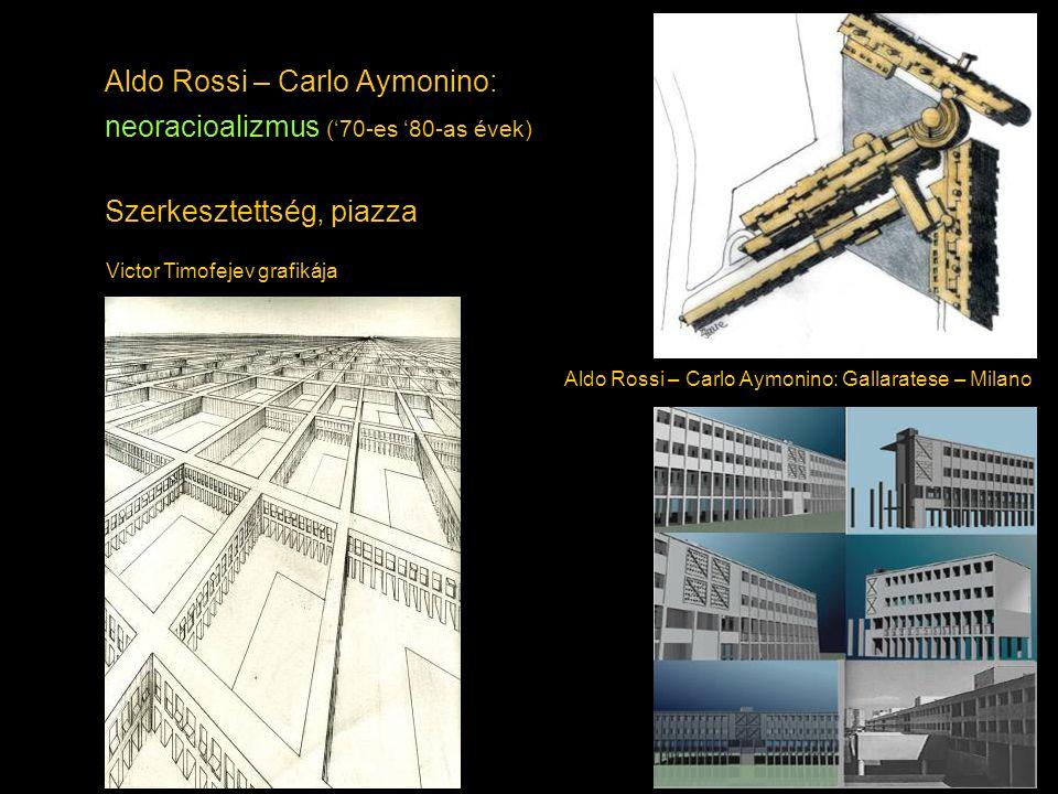 Aldo Rossi – Carlo Aymonino: neoracioalizmus ('70-es '80-as évek) Szerkesztettség, piazza Aldo Rossi – Carlo Aymonino: Gallaratese – Milano Victor Tim