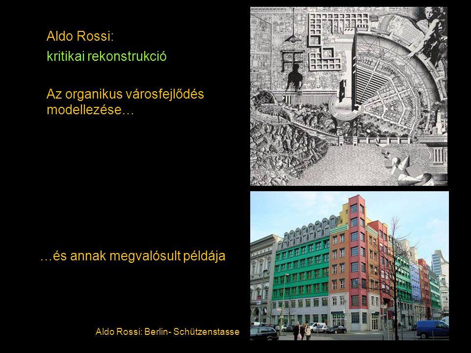 Aldo Rossi: kritikai rekonstrukció Az organikus városfejlődés modellezése… Aldo Rossi: Berlin- Schützenstasse …és annak megvalósult példája