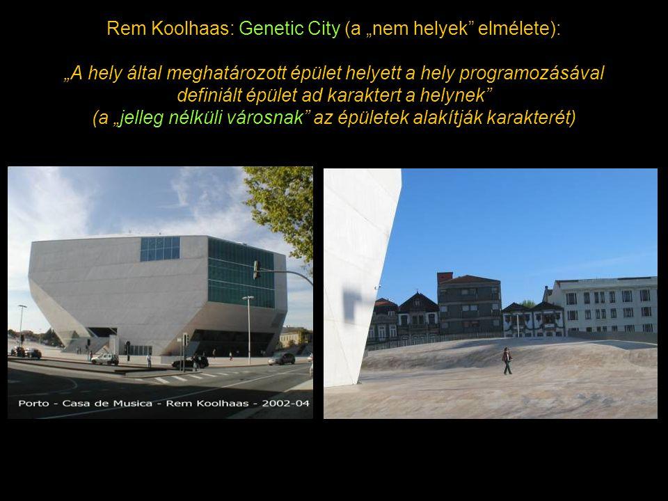 """Rem Koolhaas: Genetic City (a """"nem helyek"""" elmélete): """"A hely által meghatározott épület helyett a hely programozásával definiált épület ad karaktert"""