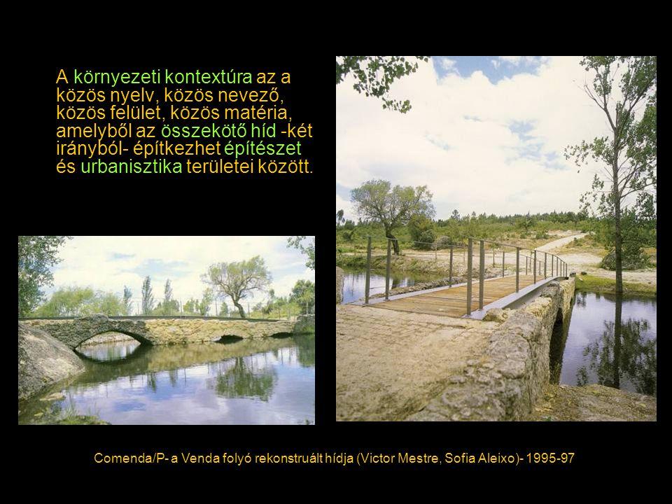 A környezeti kontextúra az a közös nyelv, közös nevező, közös felület, közös matéria, amelyből az összekötő híd -két irányból- építkezhet építészet és