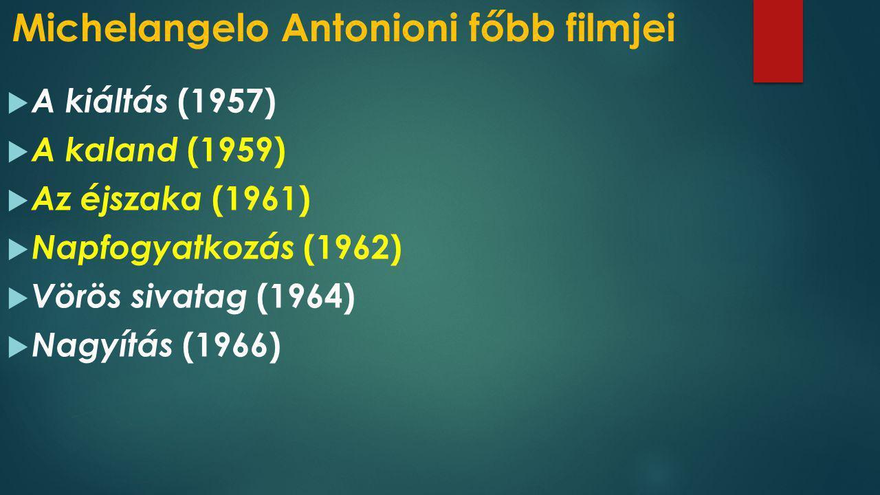 Michelangelo Antonioni főbb filmjei  A kiáltás (1957)  A kaland (1959)  Az éjszaka (1961)  Napfogyatkozás (1962)  Vörös sivatag (1964)  Nagyítás
