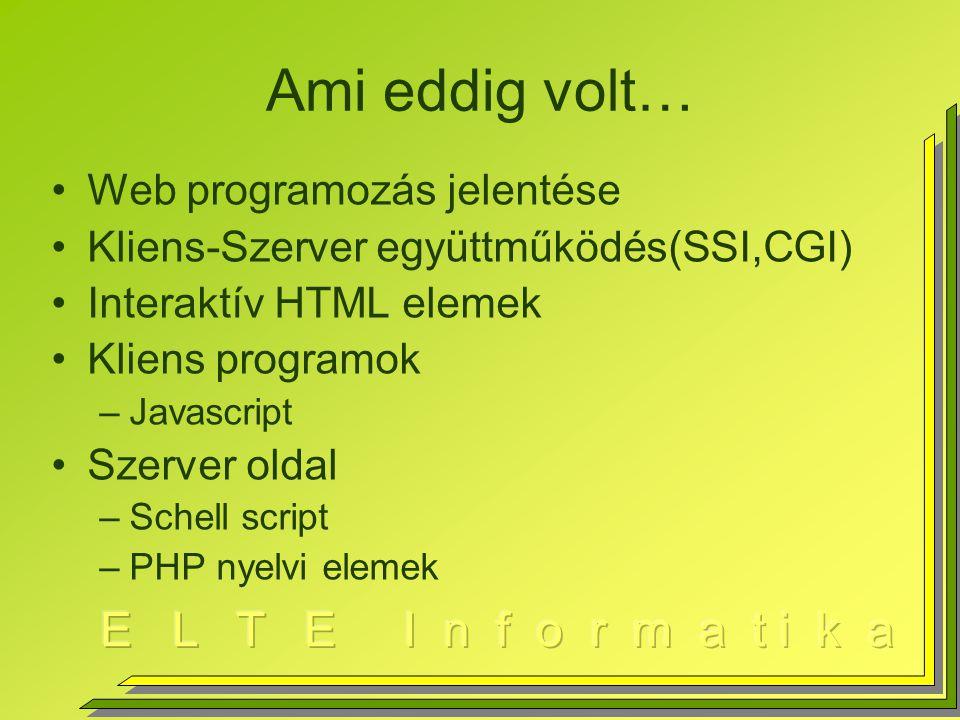 File Input Output $file=fopen(filenév, mód); –Mód=r, w, r+, w+,a, a+ (append) fclose($file); $karakter=fgetc($file); $sor=fgets($file); $sor=fread($file,50); //bináris olvasás If (!fwrite($file,$sor)) …; // hiba fputs($file,$sor) az fwrite alias utasítása feof($file)file végén vagyunk-e
