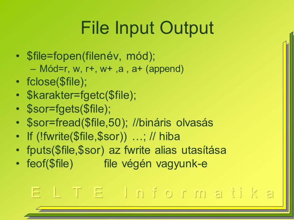 Adatbázis elérés Kapcsolat nyitás –$con=mysql_connect($host,$user,$pw); If (!$con) die( Volt jobb! ); –$con=mssql_connect($host,$user,$pw); Lekérdezés –$e=mysql_query( select * from foci ); $e eredmény tábla feldolgozása Kapcsolat zárás –mysql_close();