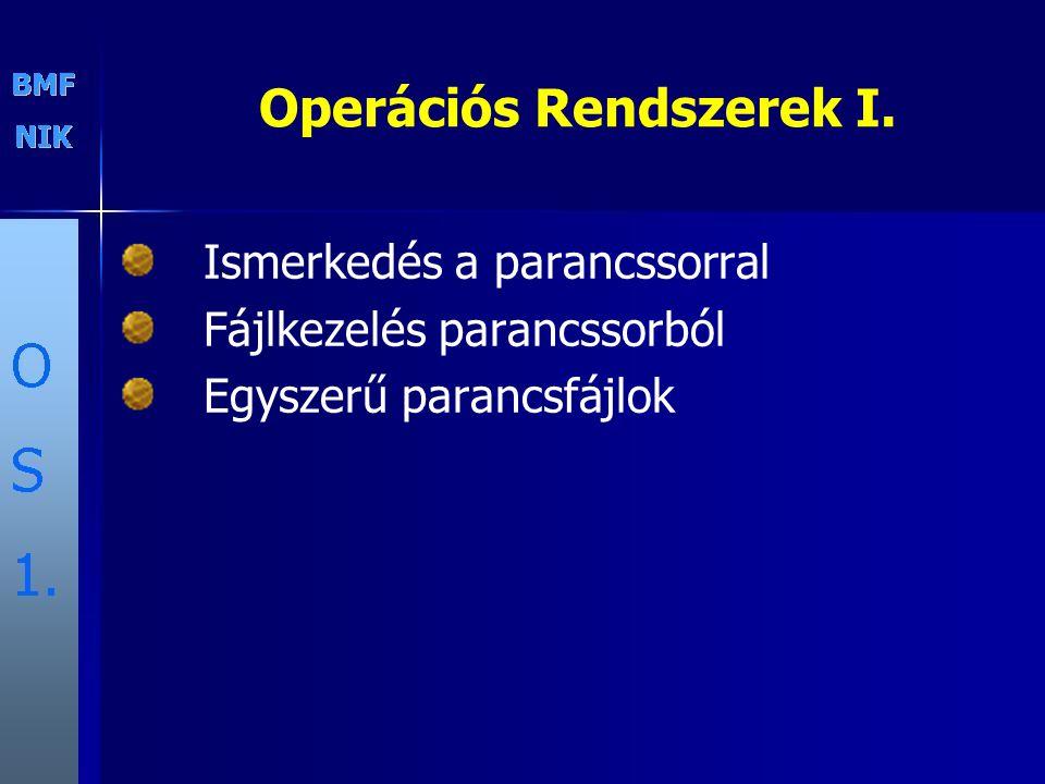 Operációs Rendszerek I. Ismerkedés a parancssorral Fájlkezelés parancssorból Egyszerű parancsfájlok