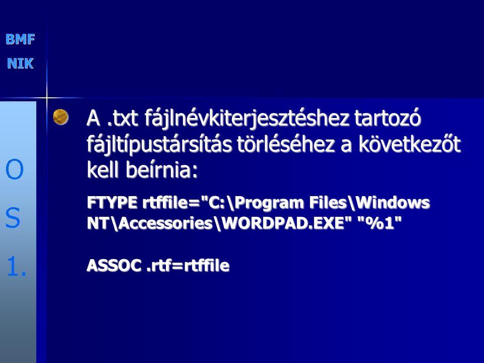 A.txt fájlnévkiterjesztéshez tartozó fájltípustársítás törléséhez a következőt kell beírnia: FTYPE rtffile=