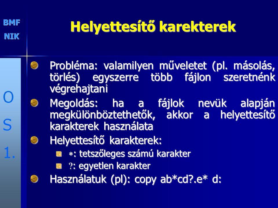 Helyettesítő karekterek Probléma: valamilyen műveletet (pl. másolás, törlés) egyszerre több fájlon szeretnénk végrehajtani Megoldás: ha a fájlok nevük