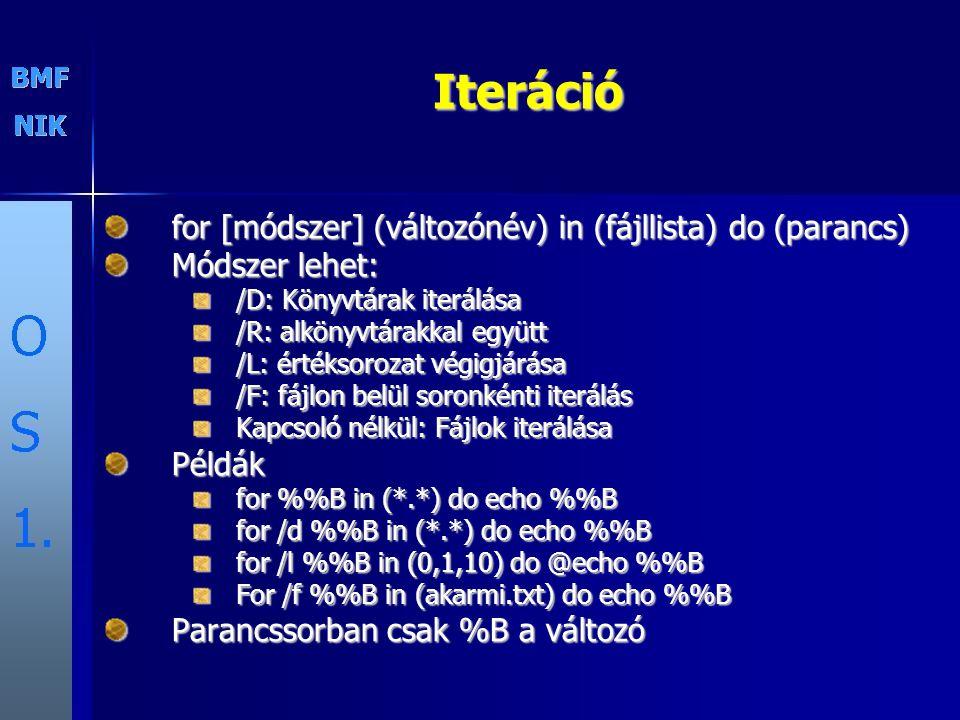 Iteráció for [módszer] (változónév) in (fájllista) do (parancs) Módszer lehet: /D: Könyvtárak iterálása /R: alkönyvtárakkal együtt /L: értéksorozat vé
