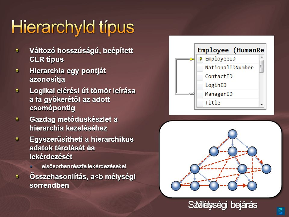 Változó hosszúságú, beépített CLR típus Hierarchia egy pontját azonosítja Logikai elérési út tömör leírása a fa gyökerétől az adott csomópontig Gazdag metóduskészlet a hierarchia kezeléséhez Egyszerűsítheti a hierarchikus adatok tárolását és lekérdezését elsősorban részfa lekérdezéseket Összehasonlítás, a<b mélységi sorrendben / /1/ /1/1/ /1/1/1/ /1/1/2/ /1/2/ /2//3/ /3/1//3/2/ Mélységi bejárás Szélességi bejárás