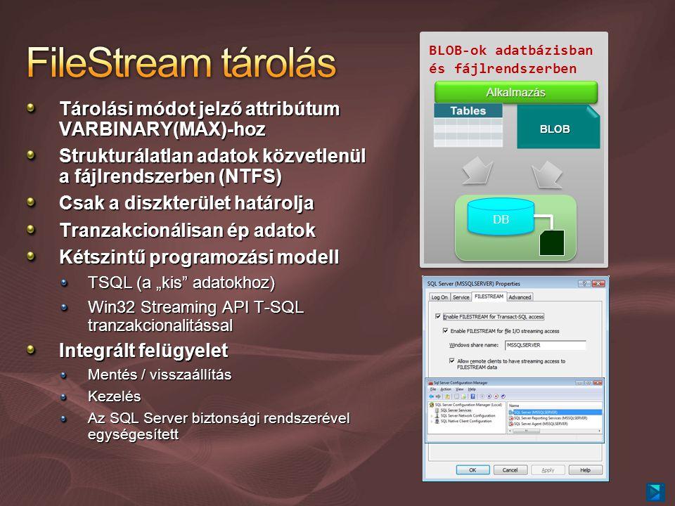 """Tárolási módot jelző attribútum VARBINARY(MAX)-hoz Strukturálatlan adatok közvetlenül a fájlrendszerben (NTFS) Csak a diszkterület határolja Tranzakcionálisan ép adatok Kétszintű programozási modell TSQL (a """"kis adatokhoz) Win32 Streaming API T-SQL tranzakcionalitással Integrált felügyelet Mentés / visszaállítás Kezelés Az SQL Server biztonsági rendszerével egységesített BLOB-ok adatbázisban és fájlrendszerben AlkalmazásAlkalmazás BLOB DB"""