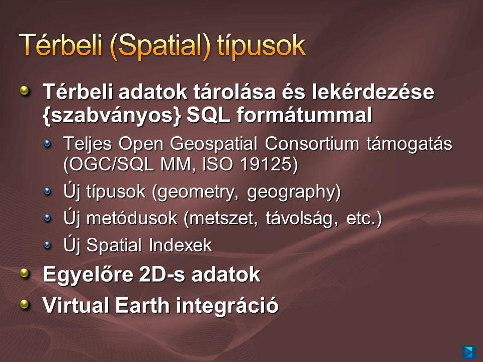 Térbeli adatok tárolása és lekérdezése {szabványos} SQL formátummal Teljes Open Geospatial Consortium támogatás (OGC/SQL MM, ISO 19125) Új típusok (geometry, geography) Új metódusok (metszet, távolság, etc.) Új Spatial Indexek Egyelőre 2D-s adatok Virtual Earth integráció