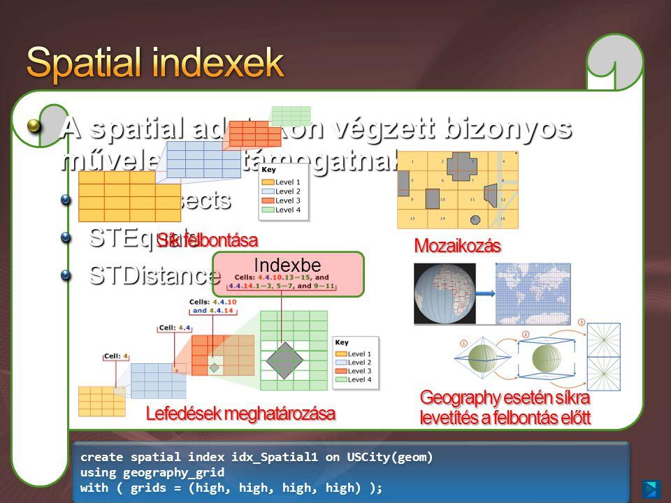 A spatial adatokon végzett bizonyos műveleteket támogatnak meg STIntersectsSTEqualsSTDistance Sík felbontása Mozaikozás Lefedések meghatározása Geography esetén síkra levetítés a felbontás előtt create spatial index idx_Spatial1 on USCity(geom) using geography_grid with ( grids = (high, high, high, high) ); create spatial index idx_Spatial1 on USCity(geom) using geography_grid with ( grids = (high, high, high, high) ); Indexbe