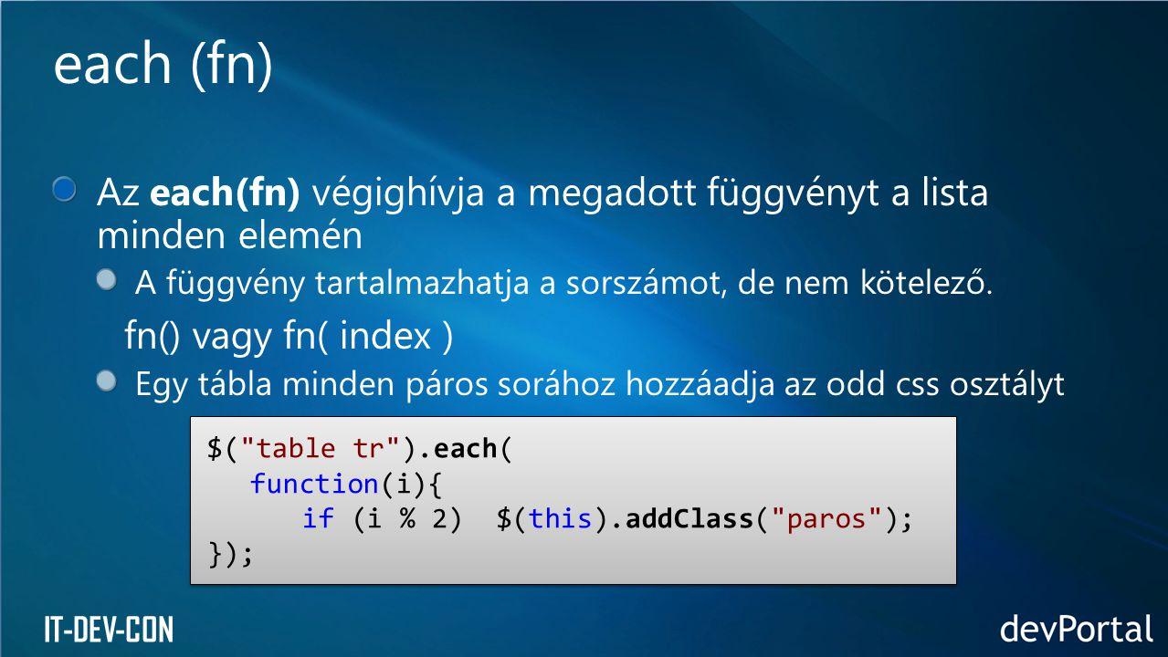 IT-DEV-CON Az each(fn) végighívja a megadott függvényt a lista minden elemén A függvény tartalmazhatja a sorszámot, de nem kötelező. fn() vagy fn( ind