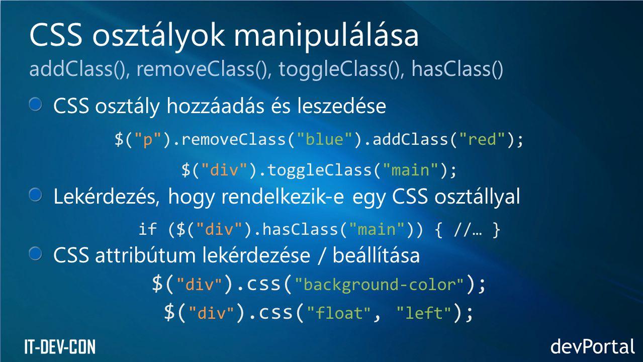 IT-DEV-CON CSS osztály hozzáadás és leszedése $(