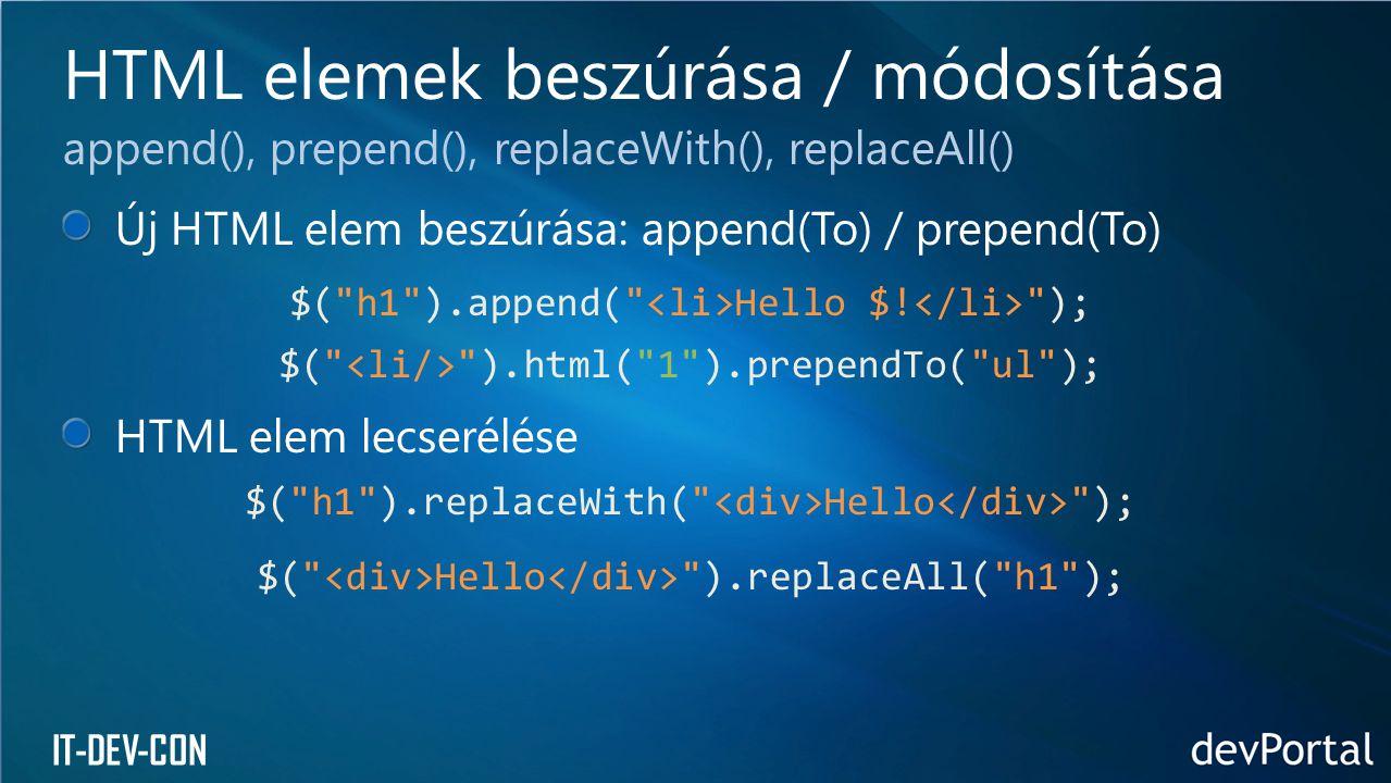 IT-DEV-CON Új HTML elem beszúrása: append(To) / prepend(To) $(