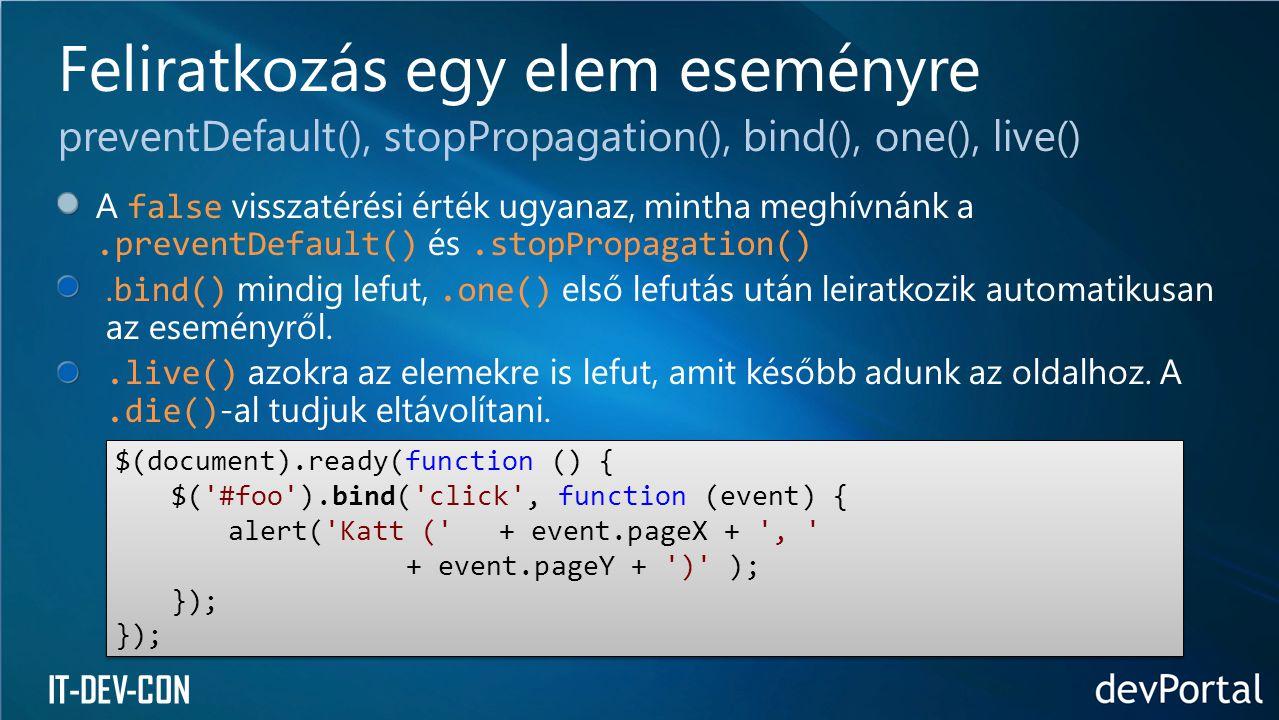 IT-DEV-CON A false visszatérési érték ugyanaz, mintha meghívnánk a.preventDefault() és.stopPropagation(). bind() mindig lefut,.one() első lefutás után