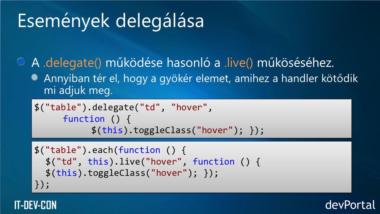 IT-DEV-CON A.delegate() működése hasonló a.live() műköséséhez. Annyiban tér el, hogy a gyökér elemet, amihez a handler kötődik mi adjuk meg. Események
