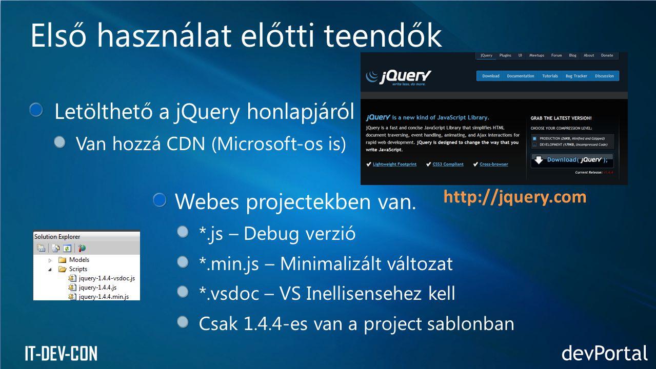 IT-DEV-CON Letölthető a jQuery honlapjáról Van hozzá CDN (Microsoft-os is) Webes projectekben van. *.js – Debug verzió *.min.js – Minimalizált változa
