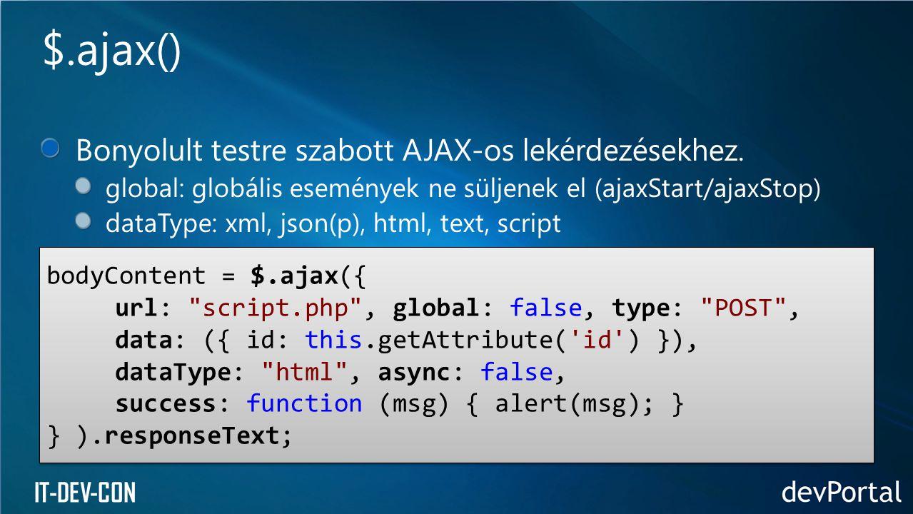 IT-DEV-CON Bonyolult testre szabott AJAX-os lekérdezésekhez. global: globális események ne süljenek el (ajaxStart/ajaxStop) dataType: xml, json(p), ht